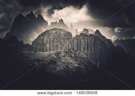 Dolomites Peaks Scenery in Italian Province of Belluno Near Lake Misurina. Dramatic Color Grading.