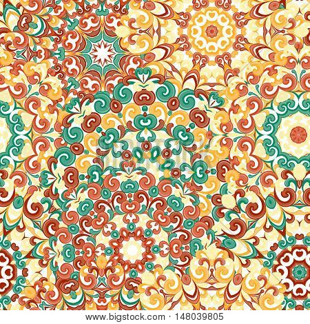Seamless colorful ethnic pattern with mandalas in oriental style. Round doilies with yellow, orange, brown curls and swirls weaving in arabesque traditional lace ornament. Vector illustration