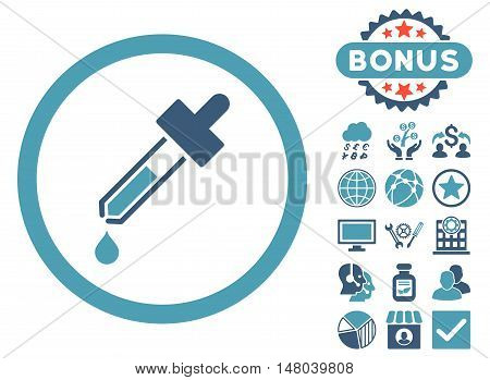 Dropper icon with bonus symbols. Vector illustration style is flat iconic bicolor symbols cyan and blue colors white background.