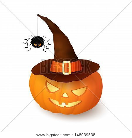 Cartoon Halloween 3d pumpkin with witch hat and hanging hairy black spider isolated on white background. Scary squash wearing brown cap with an orange ribbon and buckle. Vector illustration