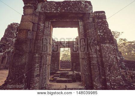 Ancient Khmer civilization ruins of Angkor near Siem Reap, Cambodia