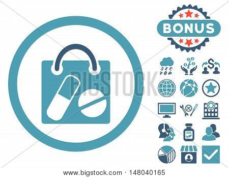 Drugs Shopping Bag icon with bonus design elements. Vector illustration style is flat iconic bicolor symbols cyan and blue colors white background.