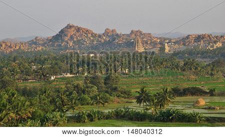 Ancient town Hampi. Rice fields palm trees and granite mountains. Popular travel destination in Karnataka India.