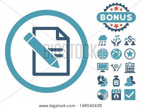 Edit Records icon with bonus images. Vector illustration style is flat iconic bicolor symbols, cyan and blue colors, white background.