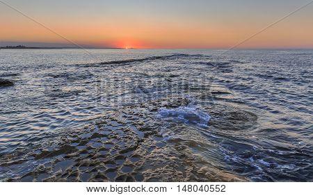 Sunset on the coast of the Caspian Sea near Baku.Azerbaijan