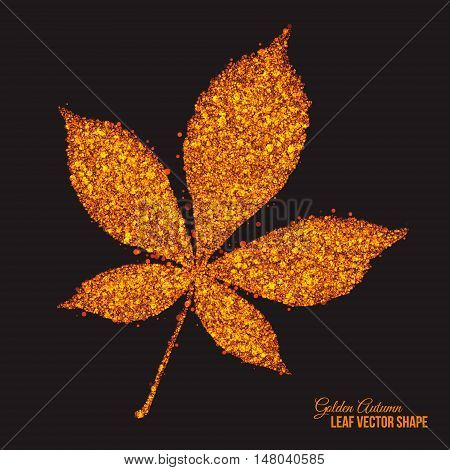 Abstract bright golden shimmer glowing dots in autumn chestnut leaf shape artistic vector background. Scatter shine tinsel particles light effect. Handmade stippled art floral illustration