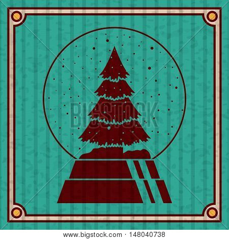 Pine tree inside sphere icon. Merry Christmas season and decoration theme. Colorful design. Striped frame and grunge background. Vector illustration