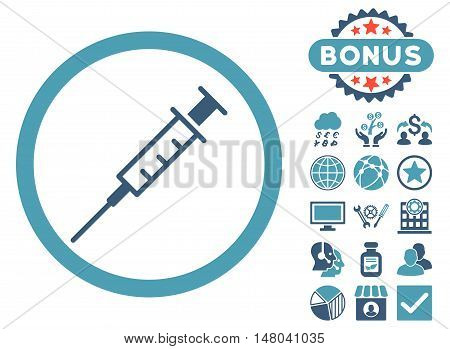 Empty Syringe icon with bonus pictures. Vector illustration style is flat iconic bicolor symbols, cyan and blue colors, white background.