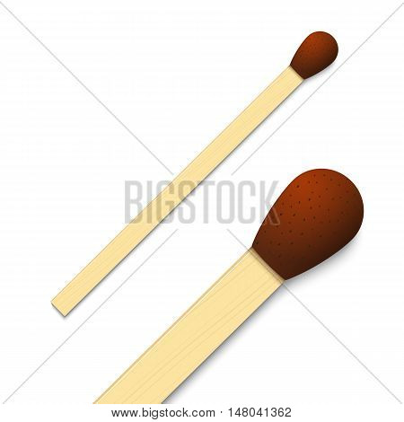 Detailed match. Isolated vector illustration on white background.