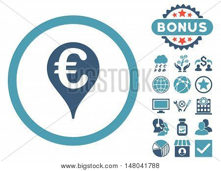 Euro Bank Map Pointer icon with bonus pictogram. Vector illustration style is flat iconic bicolor symbols, cyan and blue colors, white background.