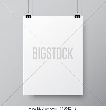 Blank white paper list hanging on two pins. Poster mock-up template