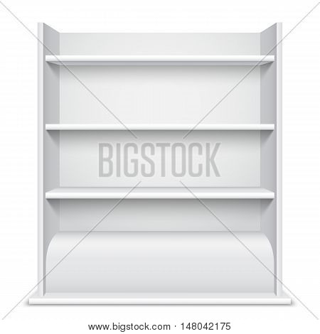 White blank showcase with empty shelves isolated on white background. Product presentation template