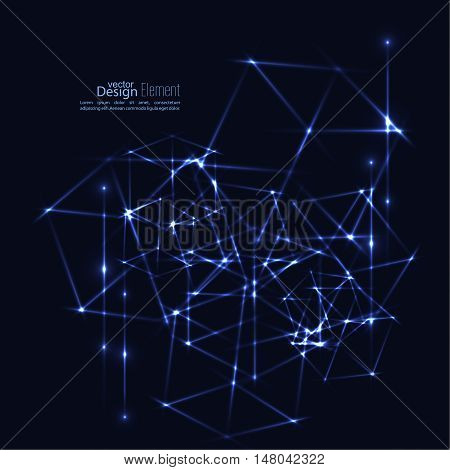 Abstract background with glowing rays intersecting. Futuristic techno design. Glowing geometric shapes
