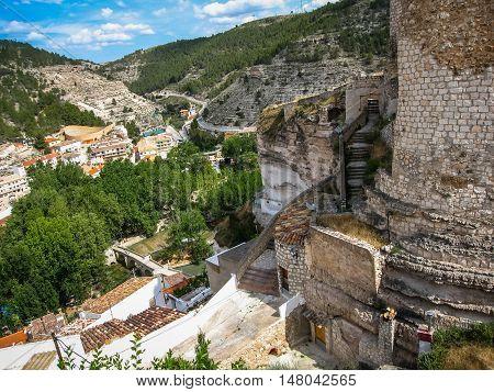 Cityscape With A Castle At Alcala Del Jucar, Castilla La Mancha, Spain