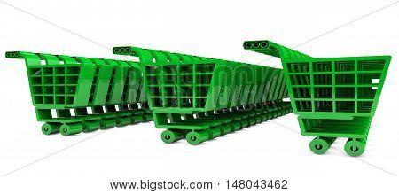 Green grocery carts 3d render  market, merchandise,