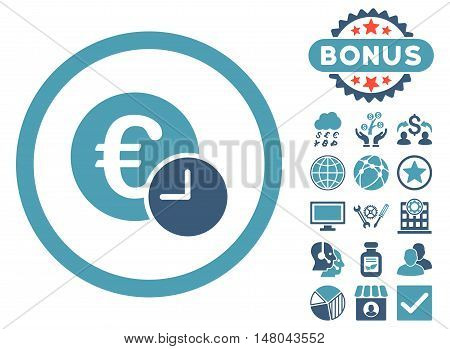 Euro Credit icon with bonus pictures. Vector illustration style is flat iconic bicolor symbols cyan and blue colors white background.