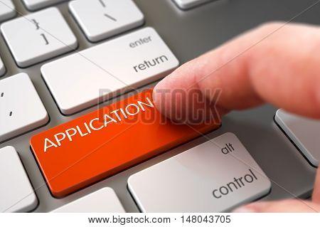 Man Finger Pressing Orange Application Key on Slim Aluminum Keyboard. 3D Render.