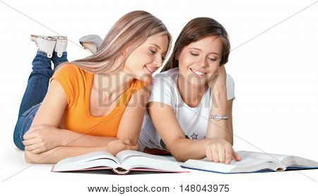 Portrait of Two Girlfriends / Sisters Studying