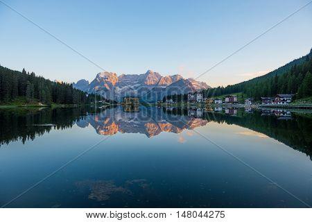 summer scene on the Lake Misurina, Dolomites Alps, Italy