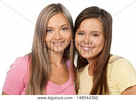 Portrait of Two Smiling Girlfriends / Sisters