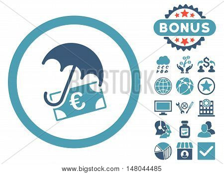 Euro Financial Umbrella icon with bonus pictures. Vector illustration style is flat iconic bicolor symbols, cyan and blue colors, white background.