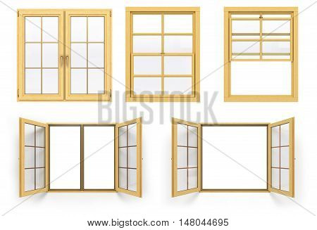 Collection Of Wooden Windows 3D Render Isolated On White Background