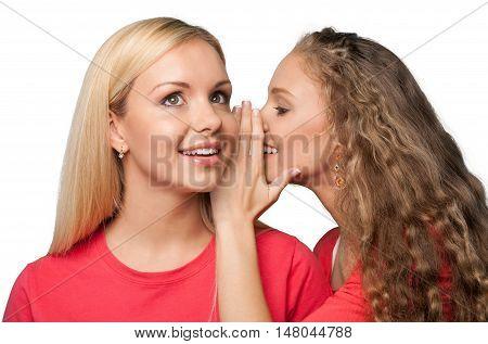 Portrait of Two Girlfriends / Sisters Gossiping
