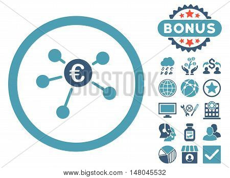 Euro Payments icon with bonus elements. Vector illustration style is flat iconic bicolor symbols, cyan and blue colors, white background.