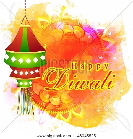 Glossy hanging Diwali Lamp (Kandil) on colourful splash, Rangoli decorated background for Indian Festival of Lights, Happy Diwali Celebration.