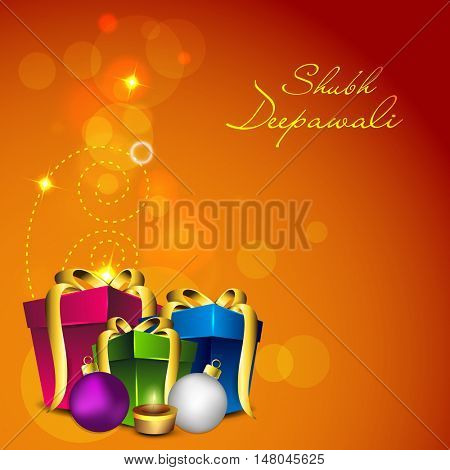 Glossy elegant Gifts with Illuminated Lit Lamps and Balls on shiny background, Vector illustration for Indian Festival of Lights, Happy Diwali Celebration.