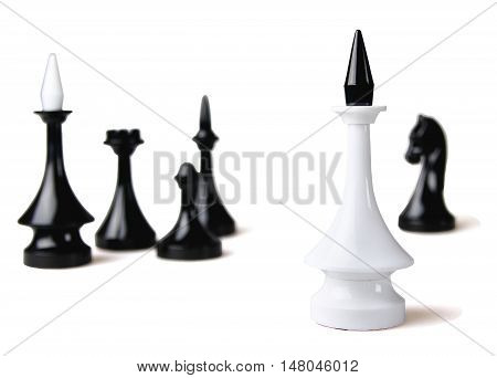 Chess King and Chess Pieces in Background