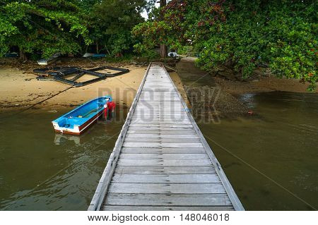 Morning view of the fishing jetty at Tanjung Aru village,Labuan Pearl of Borneo,Malaysia