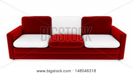 Red sofa with white cushions 3d render