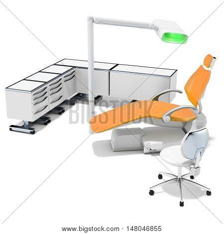 3D Modern Dental Chair, Furniture And Light