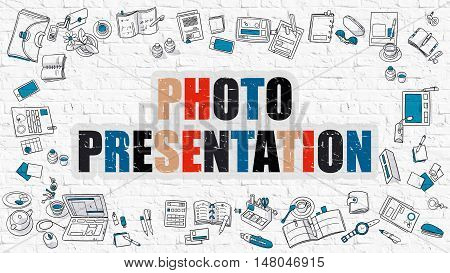 Photo Presentation Concept. Modern Line Style Illustration. Multicolor Photo Presentation Drawn on White Brick Wall. Doodle Icons. Doodle Design Style of Photo Presentation Concept.