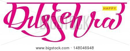 Happy dussehra hindu festival. Lettering text for greeting card. Isolated on white vector illustration
