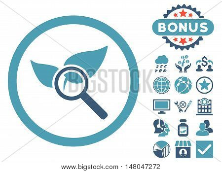 Explore Natural Drugs icon with bonus design elements. Vector illustration style is flat iconic bicolor symbols, cyan and blue colors, white background.