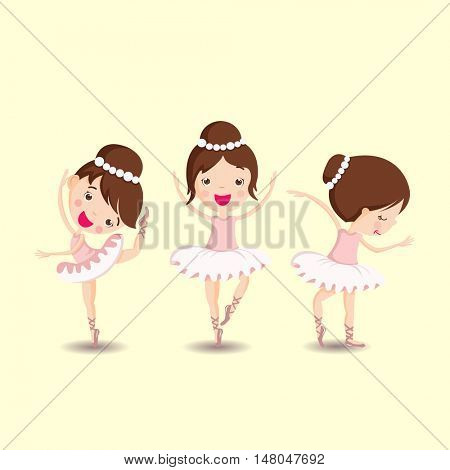 Ballerina in dance. Vector illustration of little ballerinas. set of girls in tutus and pointe in different poses
