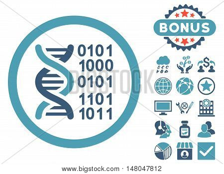 Genome Code icon with bonus images. Vector illustration style is flat iconic bicolor symbols cyan and blue colors white background.