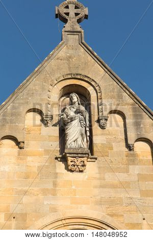 Detail of the facade of the chapel of the revelation of the Lord Jesus Margaret Mary Alacoque in Paray Le Monial France. Very important place for Catholics
