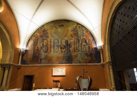 Paray Le Monial France - September 13 2016: Inside mosaic in the chapel of the revelation of Jesus Margaret Mary Alacoque. Very important place for Catholics