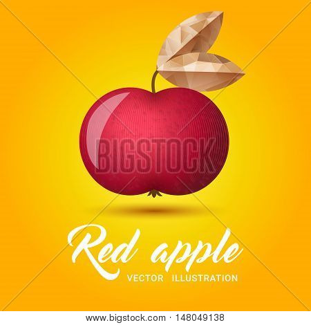 Realistic red apple on bright yellow background - vector illustration. Big red apple with bright golden leaf.