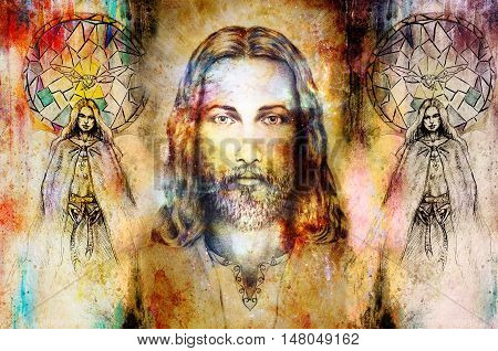 Jesus and beautiful angel being with dove and sprig, spiritual concept. Jesus face in cosmic space