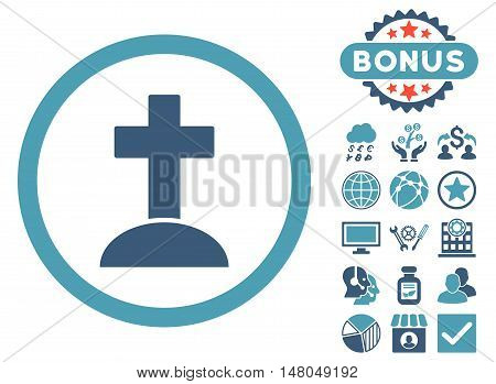 Grave icon with bonus pictogram. Vector illustration style is flat iconic bicolor symbols, cyan and blue colors, white background.