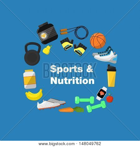 Fitness and healthy lifestyle banner, vector illustration in flat style. Different athletic equipments and nutrition around text on blue background. Outdoors activity. Workout and gymnastics.