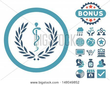Health Care Emblem icon with bonus design elements. Vector illustration style is flat iconic bicolor symbols, cyan and blue colors, white background.