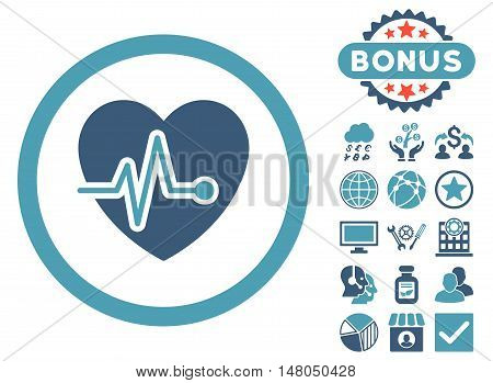 Heart Pulse icon with bonus pictures. Vector illustration style is flat iconic bicolor symbols, cyan and blue colors, white background.