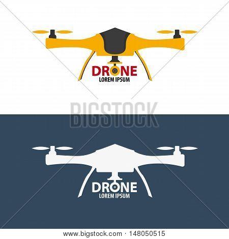 Drone logo. Flat design. Quadrocopter store. Vector illustration