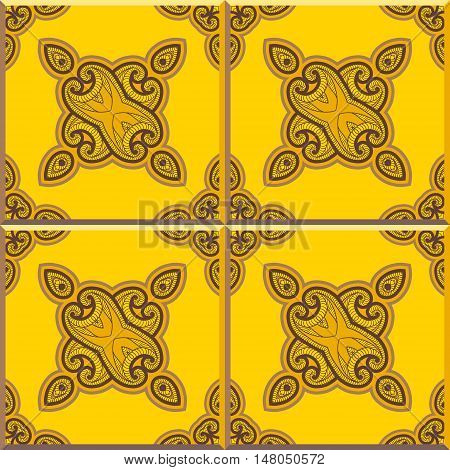 Floor tiles - seamless vintage pattern with cement tiles. Seamless vector background. Vector illustration. Retro colors - yellow and brown. Set of four tiles.
