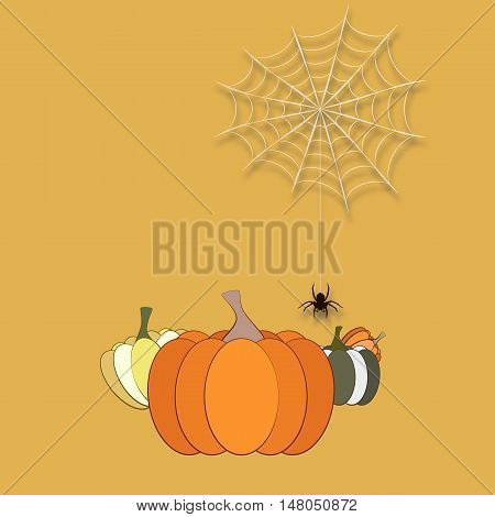 Funny Halloween vector. Vector Halloween concept, pumpkins and spider. Halloween orange background. Vector Halloween flyer, flat illustration.